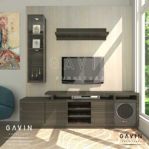 design backdrop tv modern minimalis finishing di Sunter Q3134
