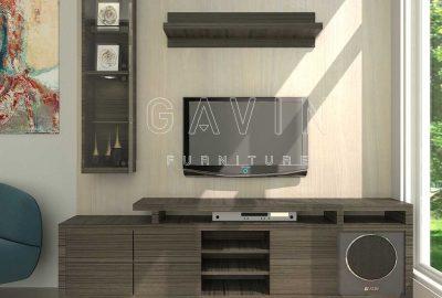 design backdrop tv modern minimalis finishing di Sunter Q3134