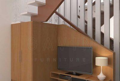 design ide lemari bawah tangga dan backdrop minimalis Q3083