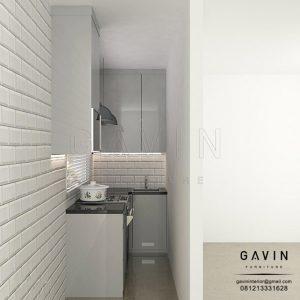design kitchen set dapur sempit minimalis modern di Bintaro Q3064