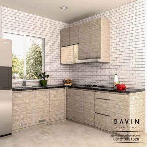 design lemari dapur HPL warna coklat di Petukangan Q3097