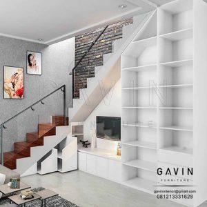 contoh design lemari di bawah tangga warna putih glossy by Gavin Q2776