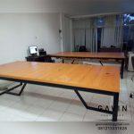 meja kantor minimalis finishing HPL kombinasi besi holo Q3139