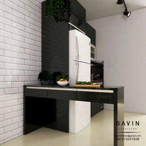 Contoh Kitchen Set Hitam Glossy Dengan Meja Makan Di Apartemen Season City Q2979