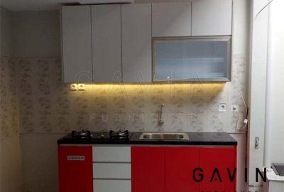 kitchen set mini letter i merah dan putih finishing hpl di paradise park Q3157