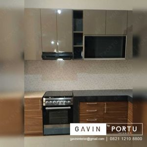 contoh kitchen set warna mocca minimalis modern di Duri Kepa Kebon Jeruk id3232