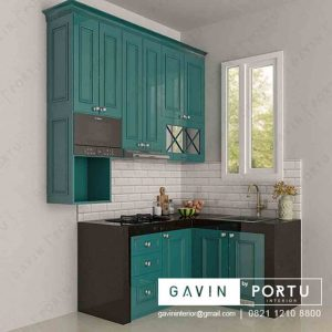 design 3D kitchen set model klasik hijau tosca di Jagakarsa Q3169