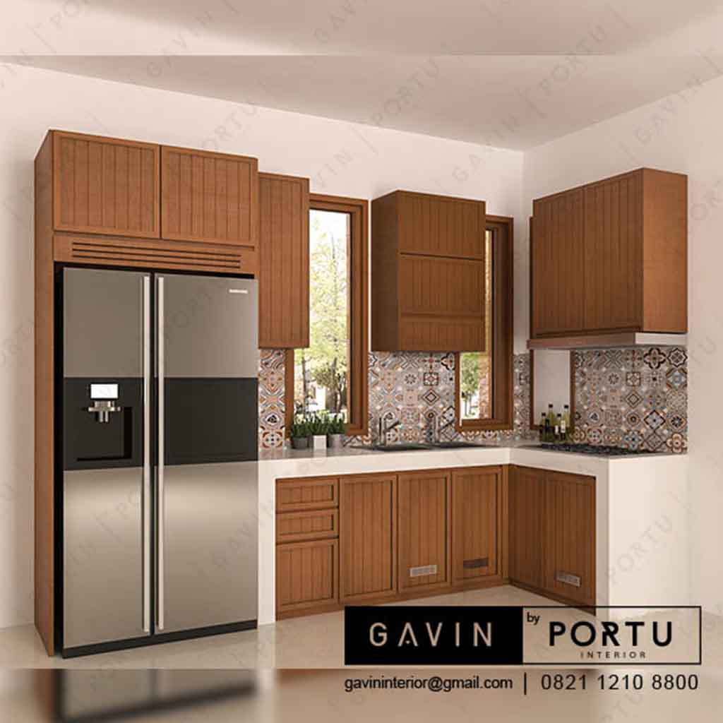 Design kitchen set kayu jati klien di pondok labu q3210