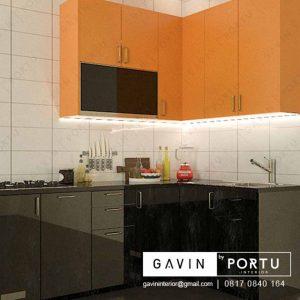 kitchen set dapur mini kombinasi warna kuning hitam project di Greenlake id3252