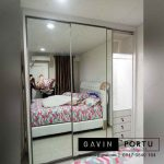 Lemari pintu geser full cermin minimalis modern di Cikupa id3283