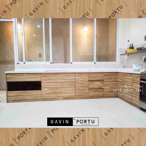 model kabinet bawah kitchen set letter L finishing hpl project di pluit id3251