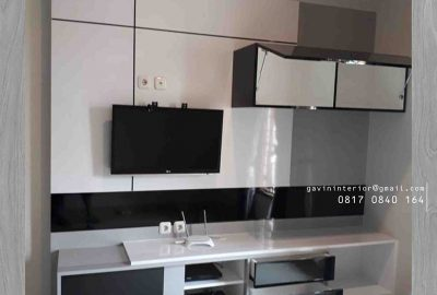 contoh backdrop tv design minimalis modern project di Jagakarsa id3329