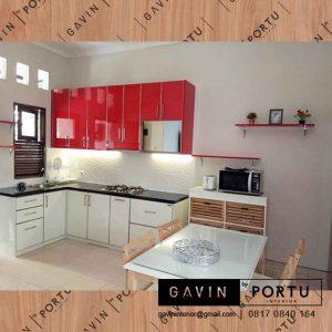 contoh kabinet dapur merah putih design minimalis project Depok id3280