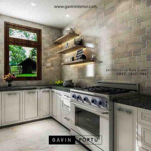 design kabinet bawah dapur semi klasik di Bintaro id3359