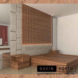 design ranjang tempat tidur lengkap dengan headboard custom di Gavin id3313