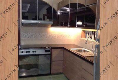 kitchen set dengan cermin minimalis letter L id3257