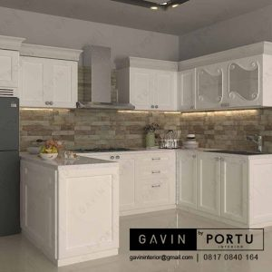buat design kitchen set klasik duco putih by Gavin id3246