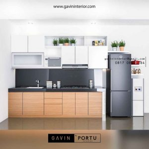design kitchen set minimalis bentuk i di Bintaro id3488