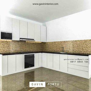 design lemari dapur warna putih minimalis di Bekasi id3423