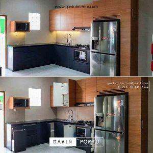 contoh kitchen set coklat kombinasi grey di Bekasi id3485