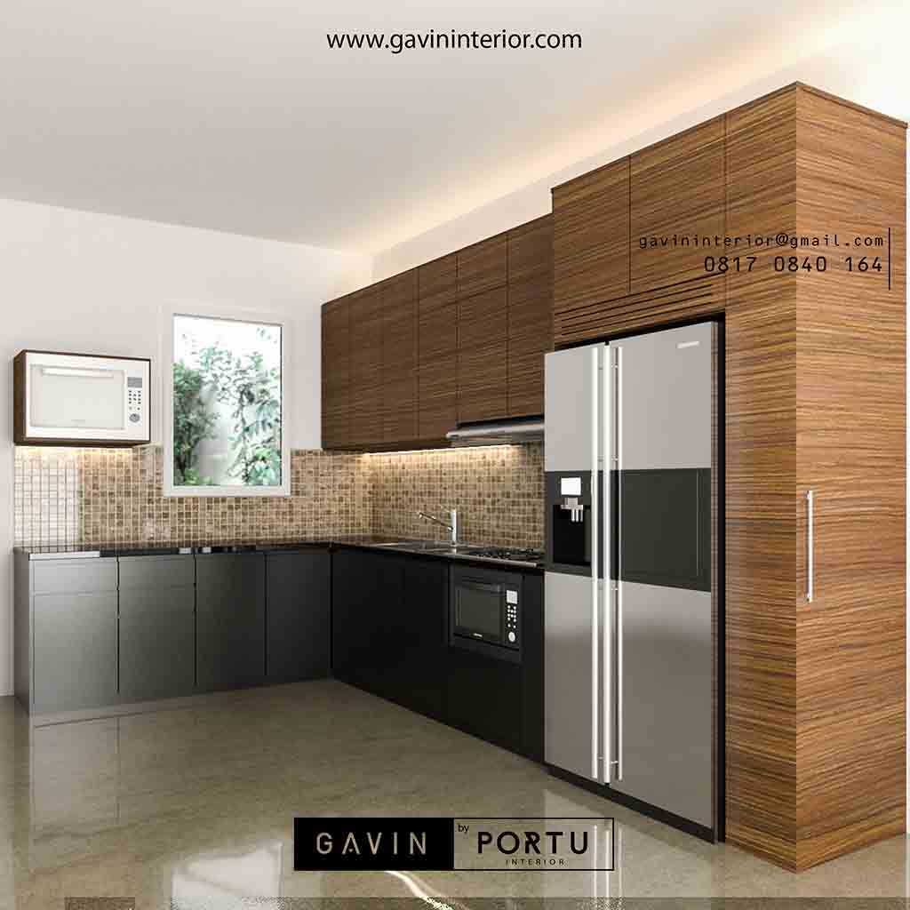 Model kitchen set coklat minimalis modern by gavin id3485