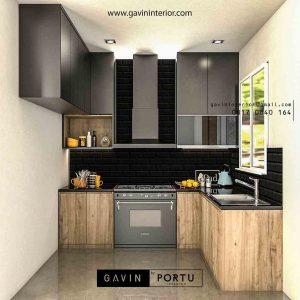 contoh gambar kitchen set motif kayu dengan minibar id3456