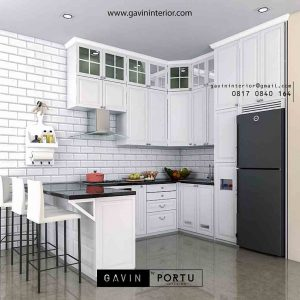 desain kitchen set model klasik warna putih by Gavin id2264