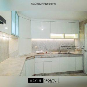 gambar kitchen set hpl model letter u id3444