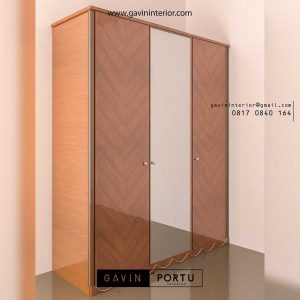 gambar lemari kayu jati pintu cermin Gavin By Portu id3417