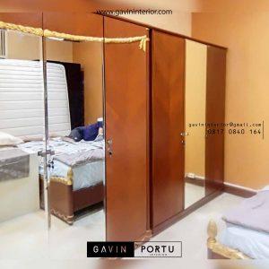 lemari kayu jati kombinasi pintu cermin model letter i project Permata Hijau id3417