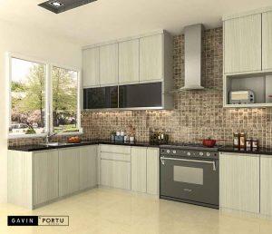 model kitchen set letter u dengan kabinet kulkas id3414