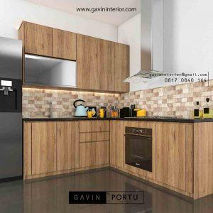model kitchen set nuansa coklat minimalis di cibubur id3406
