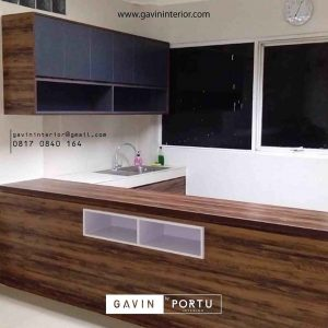 contoh model kitchen set minimalis warna coklat by Gavin id3385