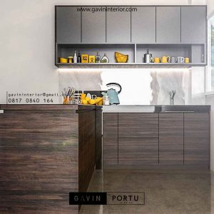 model kitchen set design minimalis bentuk L di Gunung Sindur id3385