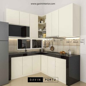 buat kitchen set design minimalis letter L di BSD id3520