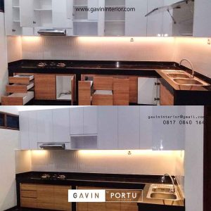 contoh gambar kitchen set minimalis modern model letter L id3505
