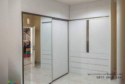 contoh lemari sliding door minimalis letter L by Gavin Furniture id3586