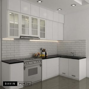 design lemari dapur custom warna putih by Gavin id3435