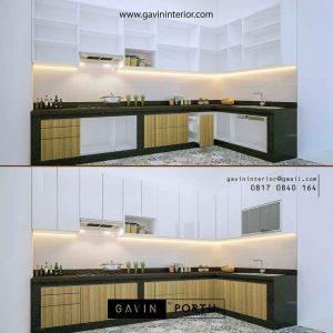 gambar kitchen set minimalis modern letter L kombinasi warna id3505