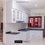 lemari dapur custom minimalis letter L warna putih id3435