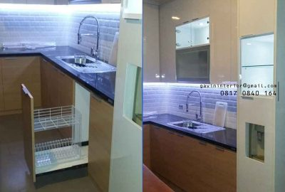 contoh kitchen set finishing hpl design minimalis di Kelapa Gading id3404