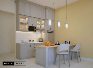 contoh lemari dapur kotor dengan meja island id3491