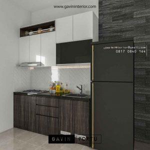 kitchen set design minimalis modern dengan kombinasi warna di Apartemen Bintaro id3651