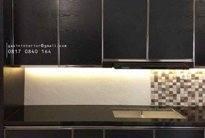 contoh kitchen set dapur minimalis warna hitam di Depok id3658