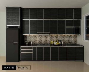 contoh kitchen set dapur model i hpl hitam di Depok id3658