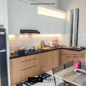 contoh kitchen set hpl kombinasi warna di Bogor id3696