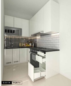 jual kitchen set hpl minimalis bentuk L di Cipayung Gavin by Portu id3598