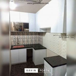 jual kitchen set hpl model letter L minimalis di Cipayung id3598
