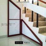model lemari bawah tangga finishing hpl