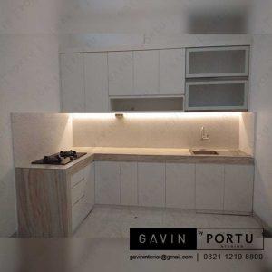 pembuatan kitchen set bentuk L minimalis Gavin by Portu id3253